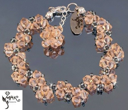 BR 162 BRANSOLETKA LIGHT PEACH SWAROVSKI ELEMENTS